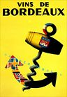 Vins De Bordeaux 1953 France Vintage Poster Print Art  Decor French Wine Advert