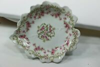 Pink Rose Buds Leaf Pin Tray Trinket Nut Dish Marshall Fields Elite Limoge
