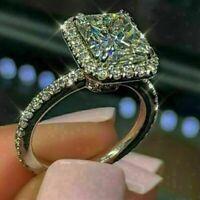 14k White Gold Over 2.50Ct Radiant Gorgeous Diamond Halo Engagement Wedding Ring