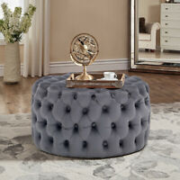 Chesterfield Buttoned Velvet Footstool Pouffe Coffee Table Dressing Chair Round
