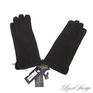 NWT $228 Polo Ralph Lauren Black Suede Full Shearling Lined Winter Gloves NR S