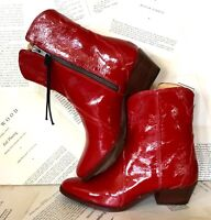 Free People Western Boots Crinkled Patent Leather Red Inside Zipper 36 NEW