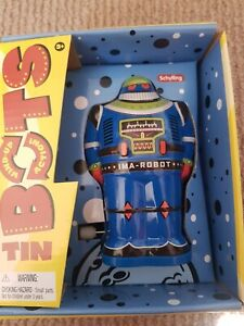 Tins Robots Bots Wind Up Blue Classic Toys schylling