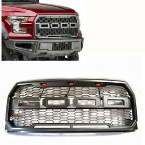 For 15-17 Ford F150 Raptor Style Conversion Front Bumper Grey Mess Grille W/LED