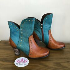 L'Artiste Quiddity Boots Turquoise Brown Leather Studded Booties 37