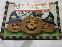 Halloween Fall Trio Pumpkin Spider Tapestry Placemats Set of 4 NEW