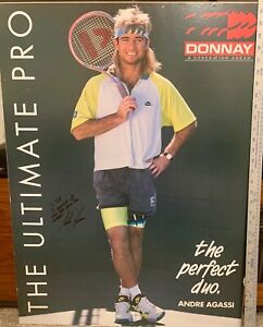 ANDRE AGASSI : AUTOGRAPHED LARGE AUTOGRAPHED CARD POSTER TO WIMBLEDON P/A