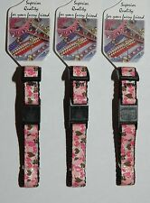 Pink & Brown Sparkly Hearts Designer Break Away Safety Cat Collar - 15-25cm