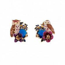 earrings Nails Chip Golden Owl Owl Blue Bird CZ Enamel Brown L6