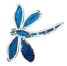 Reflectante Mosaico/madera azul libélula Decoración De Pared Placa 38.1cm alto ,