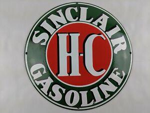 """VINTAGE SINCLAIR GASOLINE H-C MOTOR OIL CONCAVE 11.90"""" PORCELAIN METAL SIGN PUMP"""