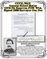 CIVIL WAR Gen. McCoy 11TH PA Reserves POW, WIA, Signed 1869 Surveyor Gen. Doc