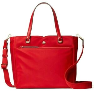 Kate Spade Jae Satchel Fava Root Red Nylon Crossbody WKRU6512 NWT $259 Retail