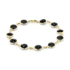 14K Yellow Gold Bracelet With Fancy Cut Black Onyx 7.25 Inches