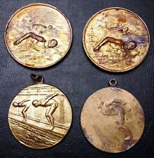 Antique 1950s Lot of 4 Hungary Swimming and Diving Sports Medals - Some Named