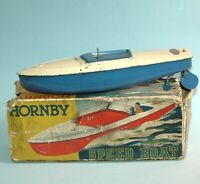 "vintage original Meccano England 1937 HORNBY SPEED BOAT ""FLASH' Clockwork Boxed"