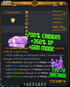 Borderlands 3 Modded LVL 72 ERIDIUM & XP SHIELD ⚛️ God Mode - ON ALL PLATFORMS
