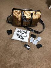 NWT MCM Weekend Duffel Bag Luggage Gold Metallic Size Medium Italy FACTORYSEALED