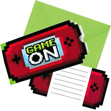 GAMING PARTY INVITATIONS INVITES PACK OF 8 MINER BIRTHDAY PARTY SUPPLIES
