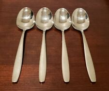 "WMF Cromargan ACTION Glossy Stainless Flatware (4) Oval Soup Spoons 7"" Korea"