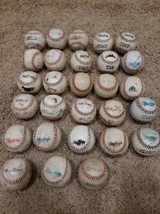 28 Used Baseballs Throwing Fielding Batting Tee Trainer Practice Lot