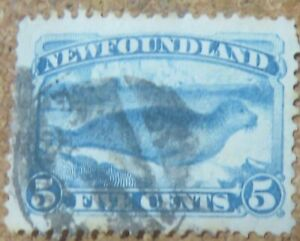 1880 NEWFOUNDLAND 1880 5 CENT BLUE SEAL USED .