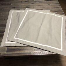 EUC 2 Euro Luxury Linen Polyester Blend Pillow Shams Button closure Taupe