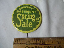 VINTAGE 1940s BAMBERGERS Department Store Basement Spring Sale Advertising PIN
