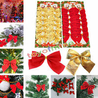 12xArbre de Noël Décoration de Noël Ornement accrochant bowknot Parti Home Decor