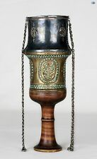 Antique 19th C. Persian Silver Brass Hookah Cup top with Chains and Gemstones