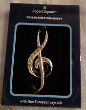 GORGEOUS MUSIC NOTE CHRISTMAS ORNAMENT by REGENT SQUARE w/EUROPEAN CRYSTALS-NIB