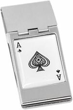 Stainless Steel Hinged Money Clips Ace of Spades
