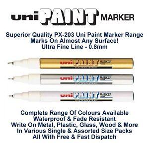 Uni Colour Oil Paint Marker Pen Fine Liner 0.8mm Line Metal Glass Wood PX-203