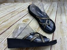 Teva Mush Mandalyn Wedge 8 Women's Flip Flops Sandals Gold Black Strappy Comfort
