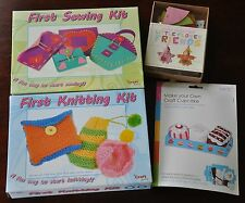 Childrens Craft Kit Bundle - Knitting - Sewing - Cupcakes - Flower Friends Gift
