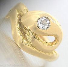 Unique Ladies Vintage Estate 14K Yellow Gold 0.18ctw Diamond Snake Ring