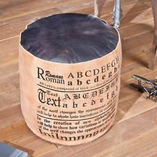 Hocker Sitz Lederhocker Baumwolle Leder Schwarz Braun Vintage