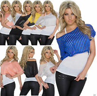 Womens Top Ladies Blouse Clubbing Party 2 in 1 Lace Shirt Size 6 8 10 12