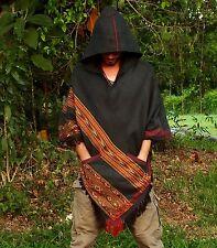 Handmade Grey YAK wool Poncho with Big Hood, Embroidery Tribal Pattern AJJAYA