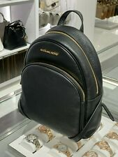 NWT Michael Kors Abbey Pebble Leather MD Backpack 35S7GAYB1L Black/Gold