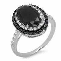 Kreative Schwarz Spinell Ring 925 Sterling Silber Zirkon Damen Geschenk Schmuck.