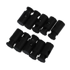 Black Plastic Toggles Stop Drawstring Cord Locks 10 Pcs N3