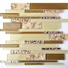 Interlocking Glass Tile Beige Tan Interior Wall Beach Sand Inner Conch Style