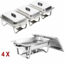 4 Sets Chafing Dish Sets Buffet Caterings Stainless Steel  W/Tray Folding Chafer