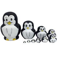 10PCS Penguin Wooden Nesting Doll Russian Babushka Matryoshka Stacking Dolls ZHZ