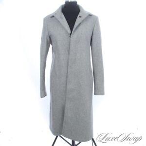 PLUSH Jil Sander Made in Italy Angora Blend Smoke Grey Flannel Long Coat 40 NR