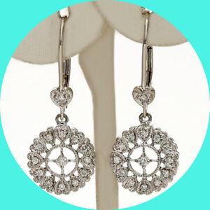 ".20CT diamond dangle drop circle heart filigree earrings 14K WG 1 1/8"""