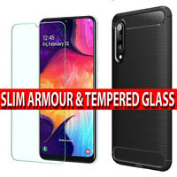 Case For Samsung Galaxy A50 Shockproof Silicone Cover & Glass Screen Protector