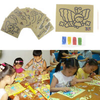 Kids DIY color sand painting art creative drawing toys sand paper art craft toy^