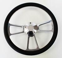 "New! Nova Chevelle Steering Wheel Black Grip 14"" Shallow Dish Billet Polished"